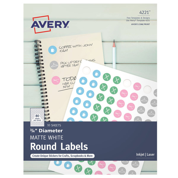 avery 04221 3 4 matte white round print to the edge labels 800 pack