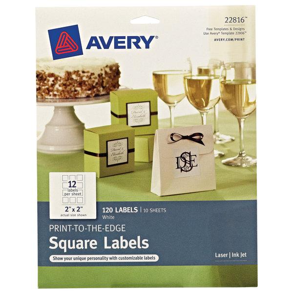 "Avery 22816 TrueBlock 2"" x 2"" White Square Print-to-the-Edge Labels - 120/Pack"