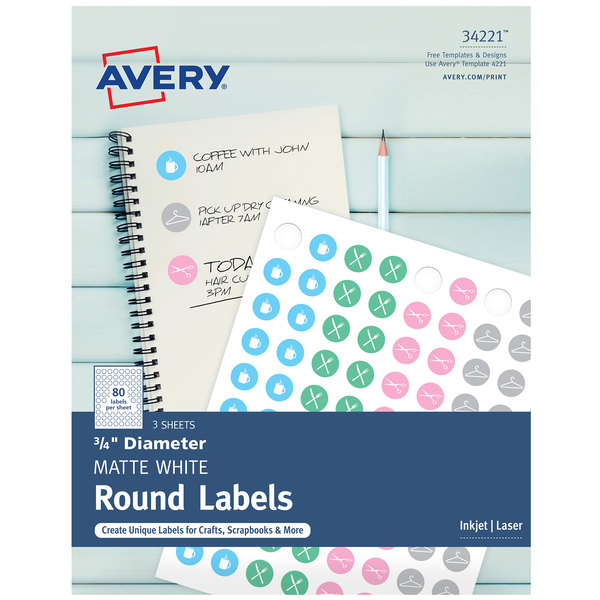 "Avery 34221 3/4"" Matte White Round Print-to-the-Edge Labels - 240/Pack"