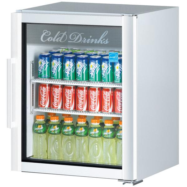 Turbo Air TGM-5SDW-N6 Super Deluxe White Countertop Display Refrigerator with Swing Door Main Image 1
