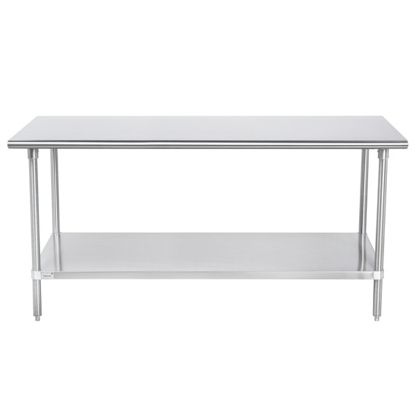 """Advance Tabco SAG-246 24"""" x 72"""" 16 Gauge Stainless Steel Commercial Work Table with Undershelf"""
