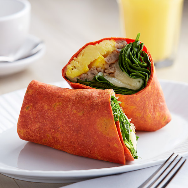 """Father Sam's Bakery 12-Count 12"""" Roasted Red Pepper Tortilla Wraps - 6/Case Main Image 2"""