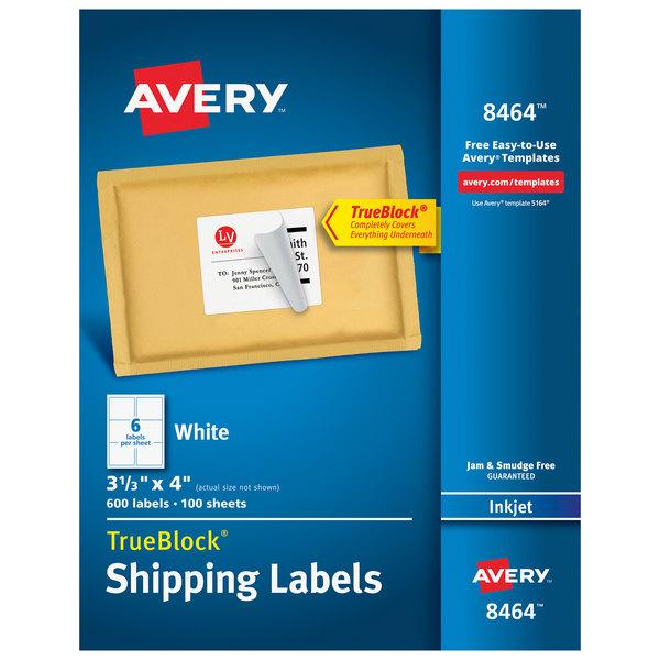 "Avery 08464 TrueBlock 3 1/3"" x 4"" White Permanent Inkjet Shipping Label - 600/Box"
