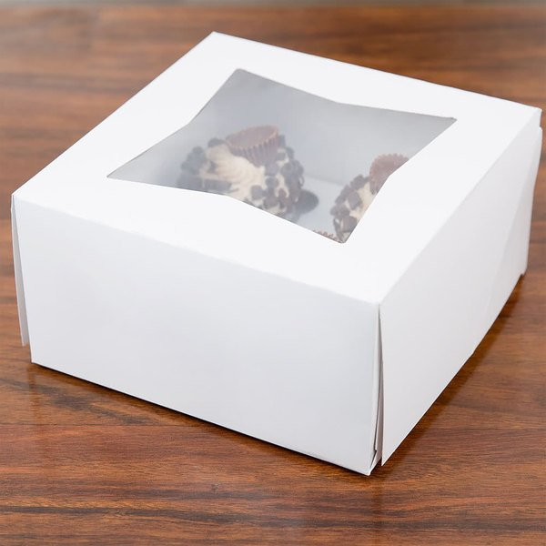 "8"" x 8"" x 4"" White Auto-Popup Window Cupcake / Muffin Box with 4 Slot Reversible Insert - 10/Pack Main Image 5"