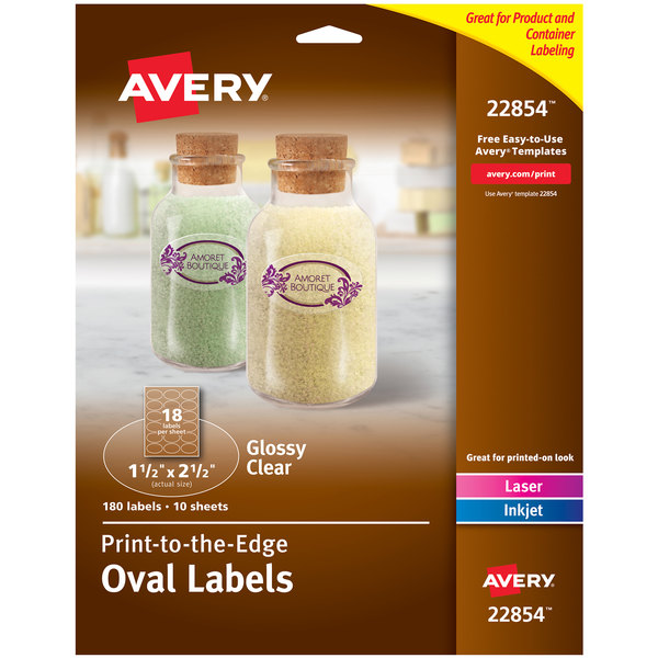 graphic regarding Printable Clear Labels identify Avery 22854 1 1/2\