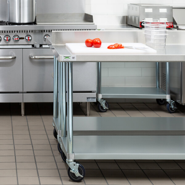 "Regency 24"" x 60"" 18-Gauge 304 Stainless Steel Commercial Work Table with 4"" Backsplash, Galvanized Legs, Undershelf, and Casters Main Image 4"