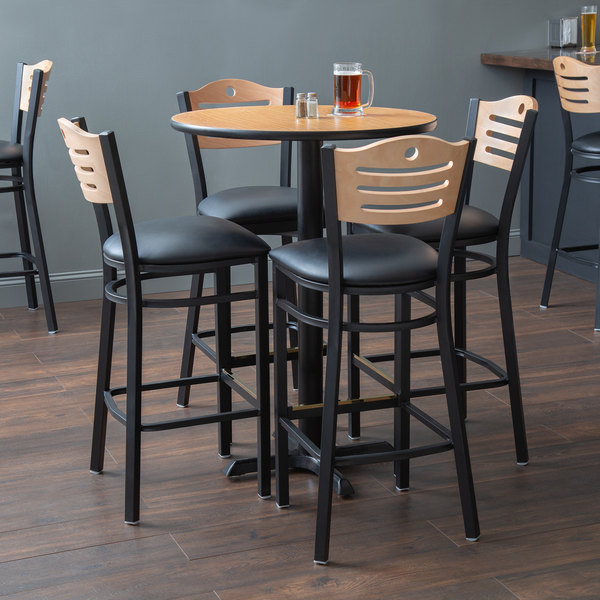 "With (4) Padded Seat Natural Eagle Back Barstools Lancaster Table & Seating 30"" Round Reversible Walnut / Oak Bar Height Dining Set"