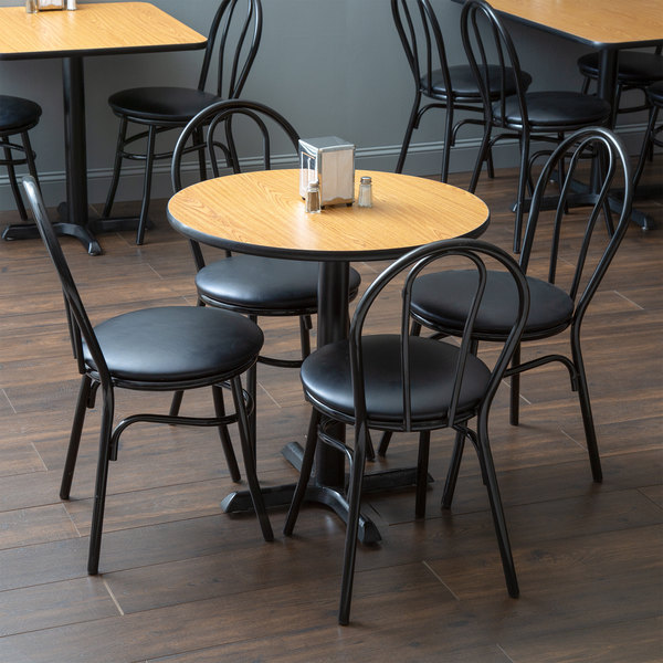 "With (4) Padded Seat Black Hairpin Cafe Chairs Lancaster Table & Seating 30"" Round Reversible Walnut / Oak Standard Height Dining Set"