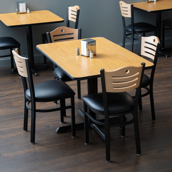 """With (4) Padded Seat Natural Eagle Back Chairs Lancaster Table & Seating 30"""" x 48"""" Reversible Walnut / Oak Standard Height Dining Set"""