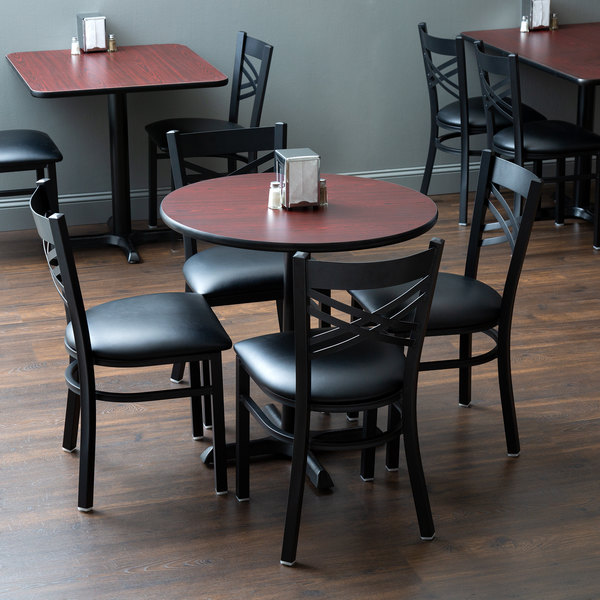 """With (4) Padded Seat Black Cross Back Chairs Lancaster Table & Seating 30"""" Round Reversible Cherry / Black Standard Height Dining Set"""