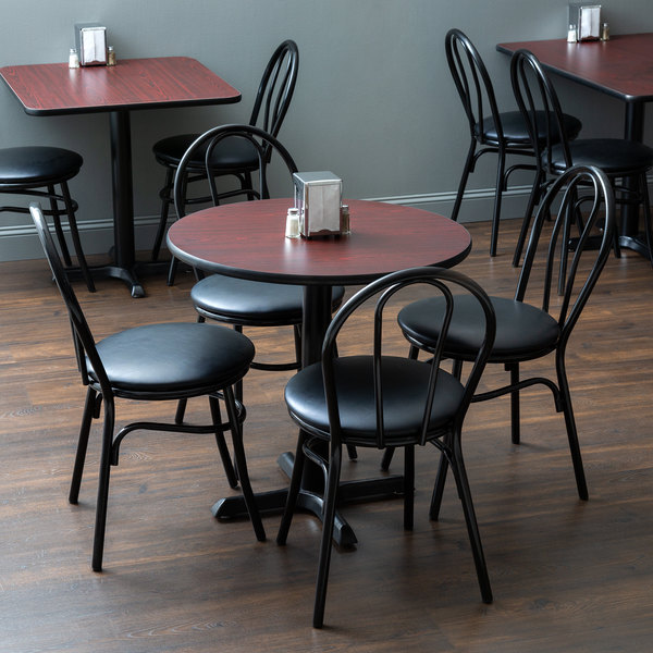 "With (4) Padded Seat Black Hairpin Cafe Chairs Lancaster Table & Seating 30"" Round Reversible Cherry / Black Standard Height Dining Set"