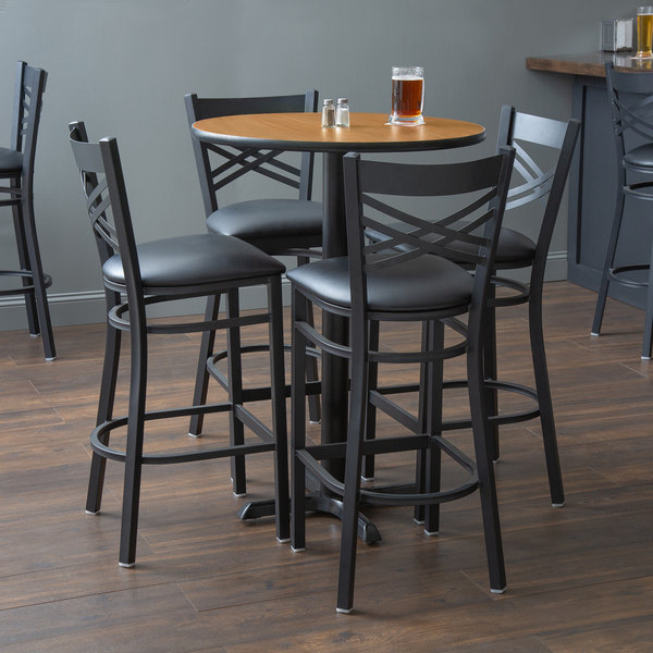 """With (4) Padded Seat Black Cross Back Barstools Lancaster Table & Seating 30"""" Round Reversible Walnut / Oak Bar Height Dining Set"""