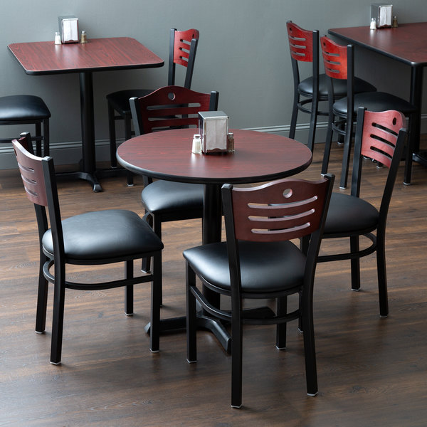 """With (4) Padded Seat Mahogany Eagle Back Chairs Lancaster Table & Seating 30"""" Round Reversible Cherry / Black Standard Height Dining Set"""