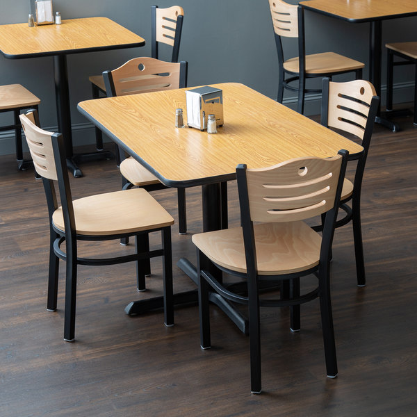 """With (4) Wooden Seat Natural Eagle Back Chairs Lancaster Table & Seating 30"""" x 48"""" Reversible Walnut / Oak Standard Height Dining Set"""