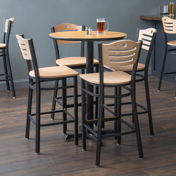"""With (4) Wooden Seat Natural Eagle Back Barstools Lancaster Table & Seating 30"""" Round Reversible Walnut / Oak Bar Height Dining Set"""