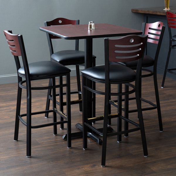"With (4) Padded Seat Mahogany Eagle Back Barstools Lancaster Table & Seating 30"" x 30"" Reversible Cherry / Black Bar Height Dining Set"