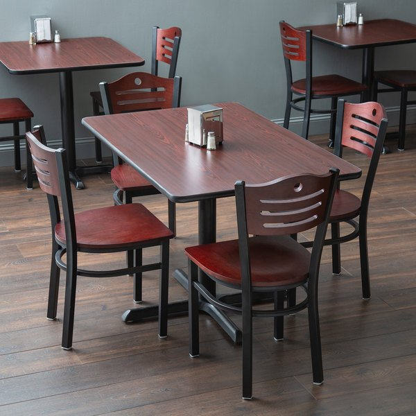 """With (4) Wooden Seat Mahogany Eagle Back Chairs Lancaster Table & Seating 30"""" x 48"""" Reversible Cherry / Black Standard Height Dining Set"""