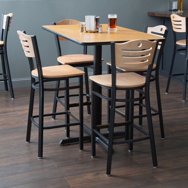 """With (4) Wooden Seat Natural Eagle Back Barstools Lancaster Table & Seating 30"""" x 48"""" Reversible Walnut / Oak Bar Height Dining Set"""