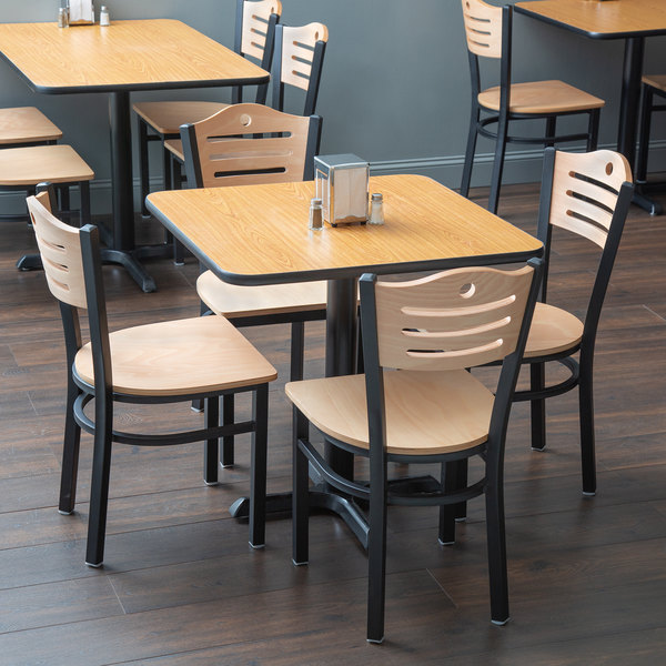 """With (4) Wooden Seat Natural Eagle Back Chairs Lancaster Table & Seating 30"""" x 30"""" Reversible Walnut / Oak Standard Height Dining Set"""