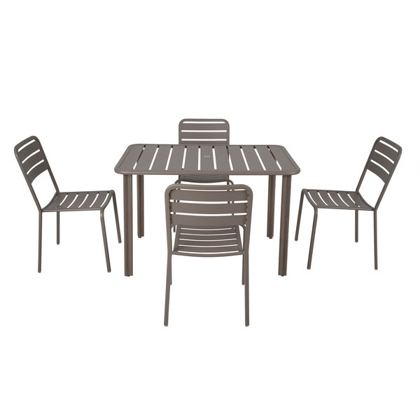 Surprising Bfm Seating Yd Er3248 Vista 32 X 48 Rectangular Earth Aluminum Outdoor Indoor Standard Height Table With 4 Chairs Theyellowbook Wood Chair Design Ideas Theyellowbookinfo