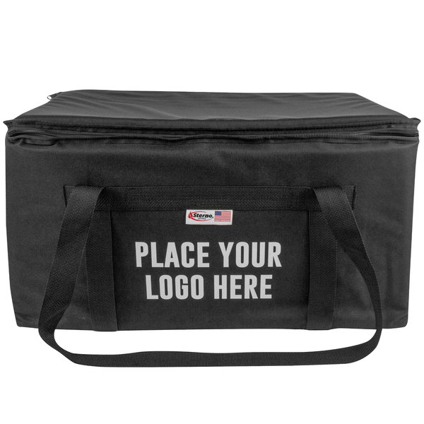 "Sterno Products 70564 Space Saver 24"" x 16"" x 14"" Large Black Customizable Catering Insulated Food Carrier"
