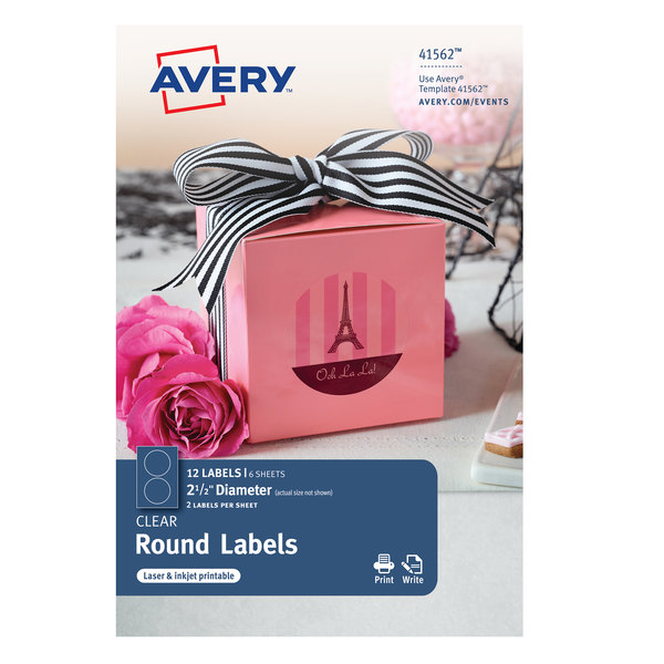 avery 41562 2 1 2 glossy clear permanent print to the edge round
