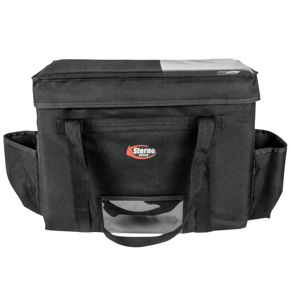 "Sterno 70533 Delivery Deluxe Black 2XL Space Saver Insulated Food Carrier, 22"" x 13"" x 17 3/4"" - Holds (10) 9"" x 9"" x 3"" Meal Containers Main Image 1"