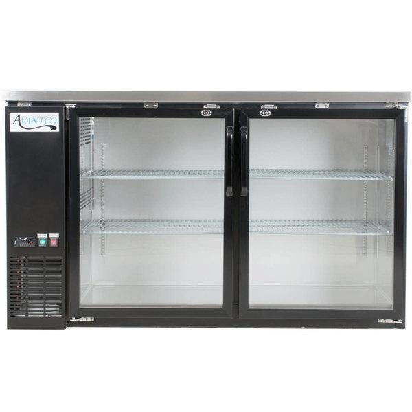 "Avantco UBB-60S-HC 60"" Black Counter Height Narrow Sliding Glass Door Back Bar Refrigerator with LED Lighting"