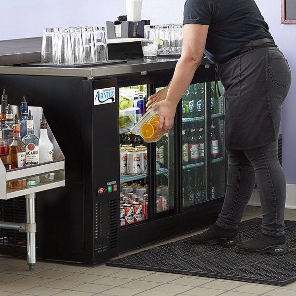 "Avantco UBB-60S-HC 60"" Black Counter Height Narrow Sliding Glass Door Back Bar Refrigerator with LED Lighting Main Image 4"