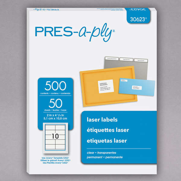 photograph about Clear Printable Labels named Avery 30623 PRES-a-ply 2\