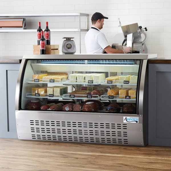 "Avantco DLC64-HC-S 64"" Stainless Steel Curved Glass Refrigerated Deli Case Main Image 6"