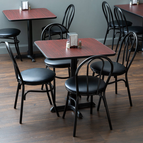 """Lancaster Table & Seating 30"""" x 30"""" Reversible Cherry / Black Standard Height Dining Set"""