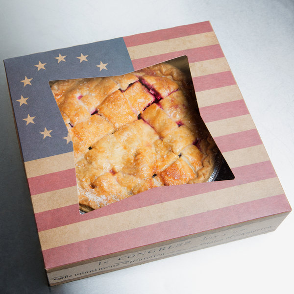 "10"" x 10"" x 2"" Auto-Popup Window Cake / Bakery Box with Vintage American Flag / Declaration of Independence Design - 150/Bundle"