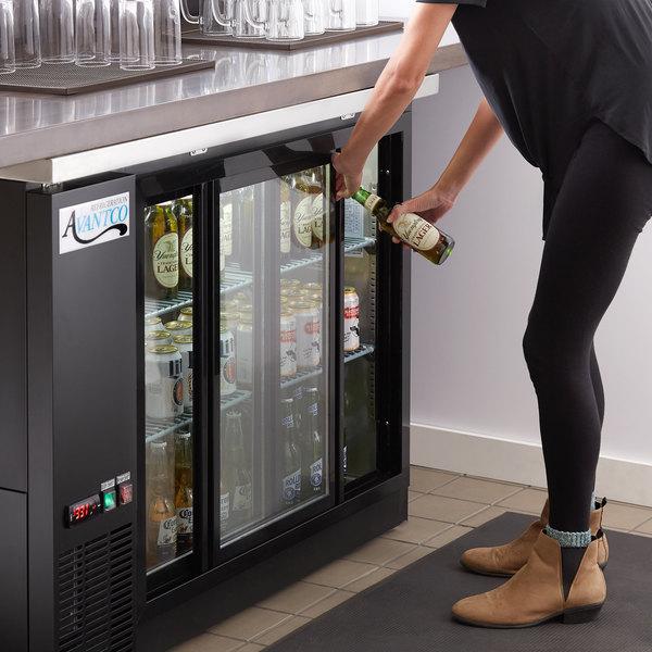 "Avantco UBB-48S-HC 48"" Black Counter Height Narrow Sliding Glass Door Back Bar Refrigerator with LED Lighting"