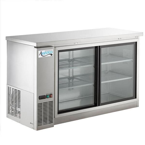 Avantco Ubb 60s Hc 60 Stainless Steel Counter Height Narrow Sliding Gl Door Back Bar Refrigerator With Led Lighting