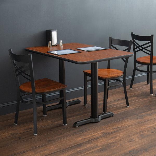 "Lancaster Table & Seating 30"" x 42"" Laminated Rectangular Table Top Reversible Walnut / Oak Main Image 4"