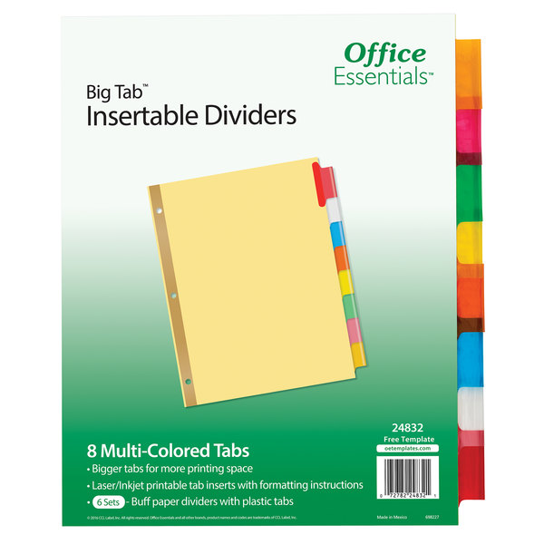 picture regarding Avery Printable Tabs named Avery 24832 Workplace Basic principles Significant Tab 8-Tab Buff Paper / Multi-Shade Printable Insertable Divider Fixed - 6/Pack