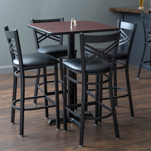 "Lancaster Table & Seating 30"" x 30"" Reversible Cherry / Black Bar Height Dining Set Main Image 5"
