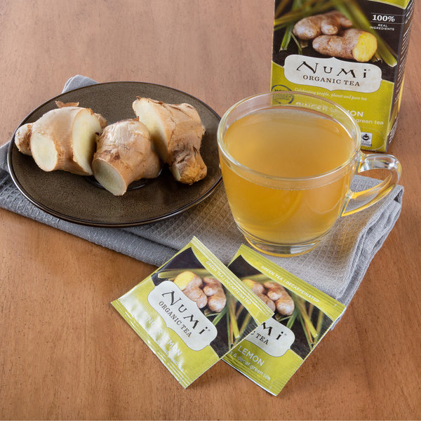 Numi Organic Decaf Ginger Lemon Tea Bags - 16/Box