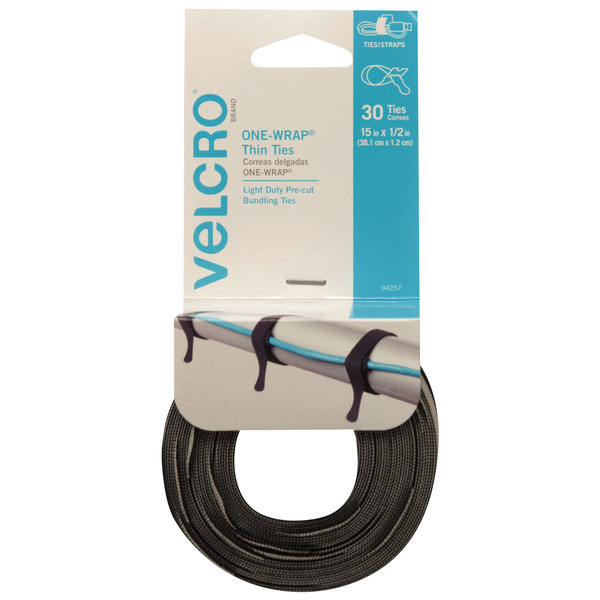 "Velcro® 94257 ONE-WRAP 15"" x 1/2"" Hook and Loop Black/Gray Fasteners - 30/Pack Main Image 1"