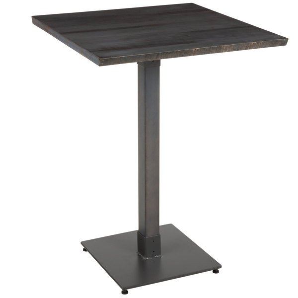 Enjoyable Lancaster Table Seating 30 Square Solid Wood Live Edge Bar Height Table With Antique Slate Gray Finish Customarchery Wood Chair Design Ideas Customarcherynet