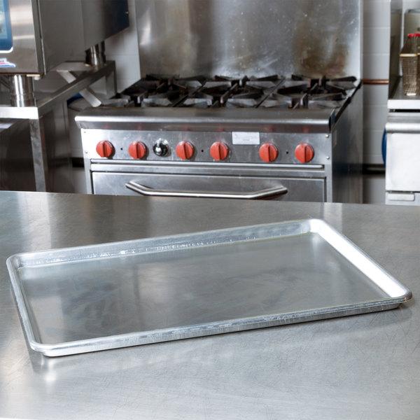 """Baker's Mark Full Size NSF 12 Gauge 18"""" x 26"""" Open Bead / Semi-Curled Rim Aluminum Bun / Sheet Pan Main Image 3"""