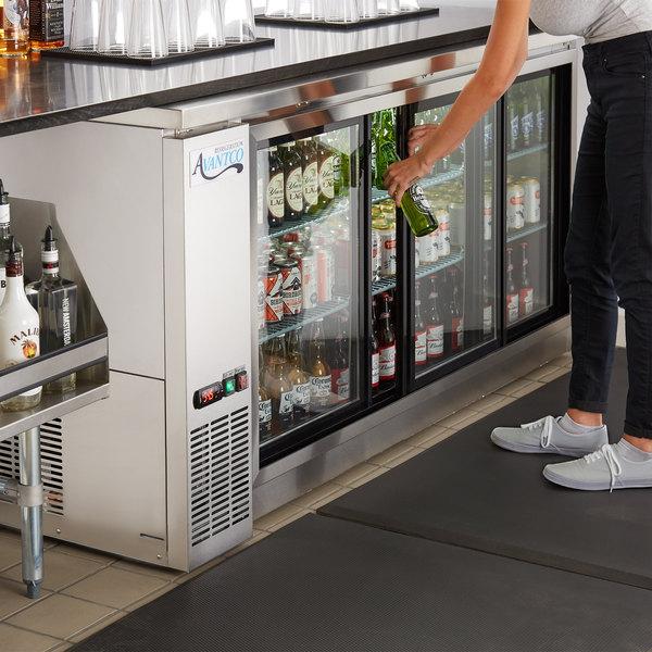 "Avantco UBB-72S-HC 73"" Stainless Steel Counter Height Narrow Sliding Glass Door Back Bar Refrigerator with LED Lighting"