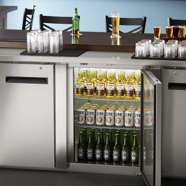 "Avantco UBB-4-HC 90"" Stainless Steel Counter Height Solid Door Back Bar Refrigerator with LED Lighting Main Image 7"