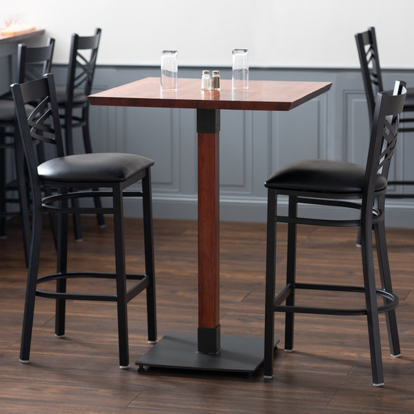 """Lancaster Table & Seating 30"""" Square Solid Wood Live Edge Bar Height Table with Mahogany Finish"""