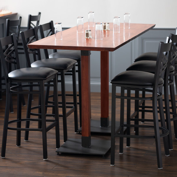 Lancaster Table Seating 30 X 72 Solid Wood Live Edge Bar Height With Mahogany Finish