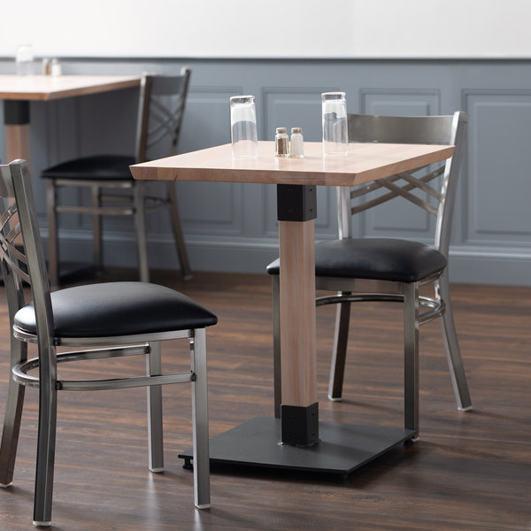 Lancaster Table Seating 24 Square Solid Wood Live Edge Dining Height With Antique White Wash Finish