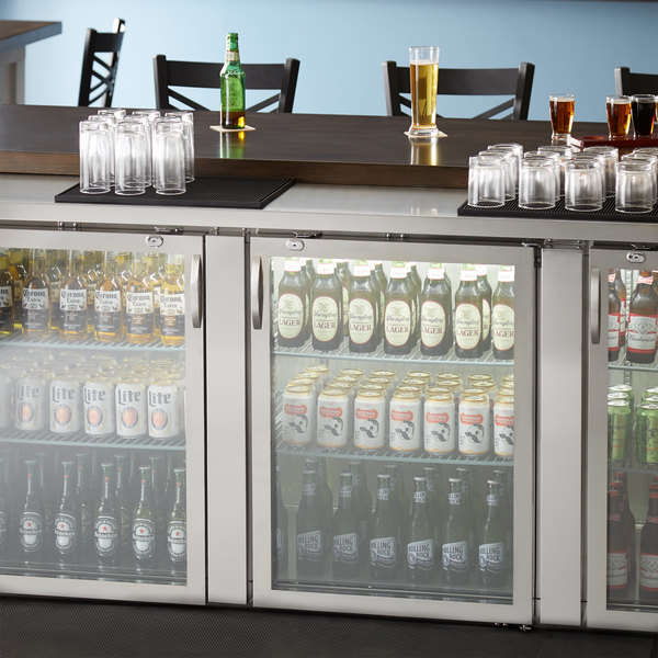 """Avantco UBB-4G-HC 90"""" Stainless Steel Counter Height Glass Door Back Bar Refrigerator with LED Lighting Main Image 6"""