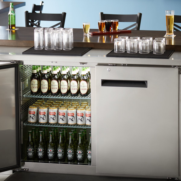 """Avantco UBB-2-HC 59"""" Stainless Steel Counter Height Solid Door Back Bar Refrigerator with LED Lighting Main Image 7"""