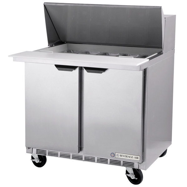 """Beverage Air SPE36HC-10C 36"""" 2 Door Cutting Top Refrigerated Sandwich Prep Table with 17"""" Wide Cutting Board"""